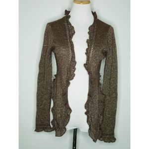 Juicy Couture Sweaters - Juicy Couture Metallic Brown Ruffle Edge Cardigan